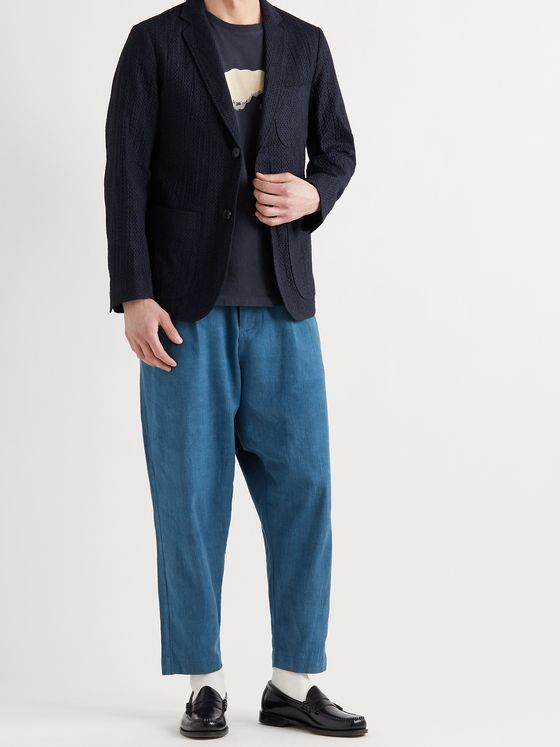 BLUE BLUE JAPAN Slim-Fit Textured-Cotton Suit Jacket