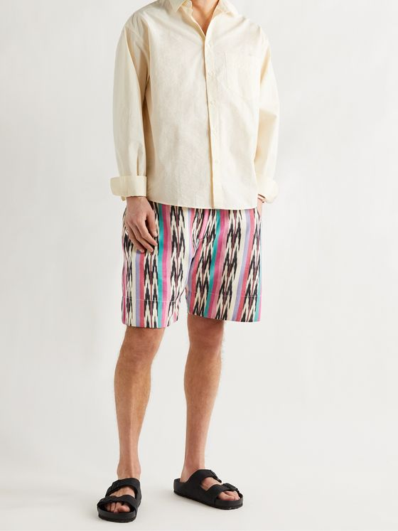 ISABEL MARANT Ihelan Striped Cotton-Jacquard Drawstring Shorts