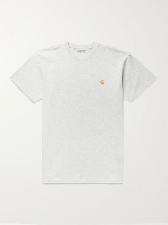 CARHARTT WIP Logo-Embroidered Mélange Cotton-Jersey T-Shirt