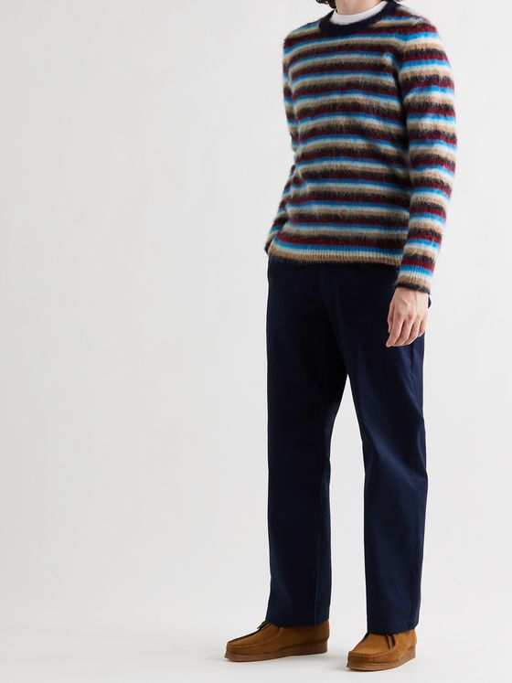 Wood Wood John Striped Textured-Knit Sweater