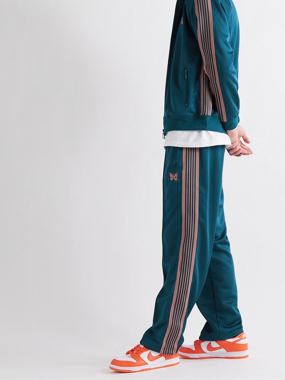 Needles Logo-Embroidered Webbing-Trimmed Tech-Jersey Track Pants