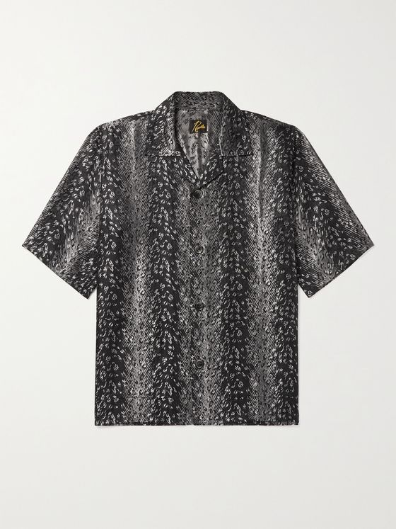 Needles Camp-Collar Leopard-Print Jacquard Shirt