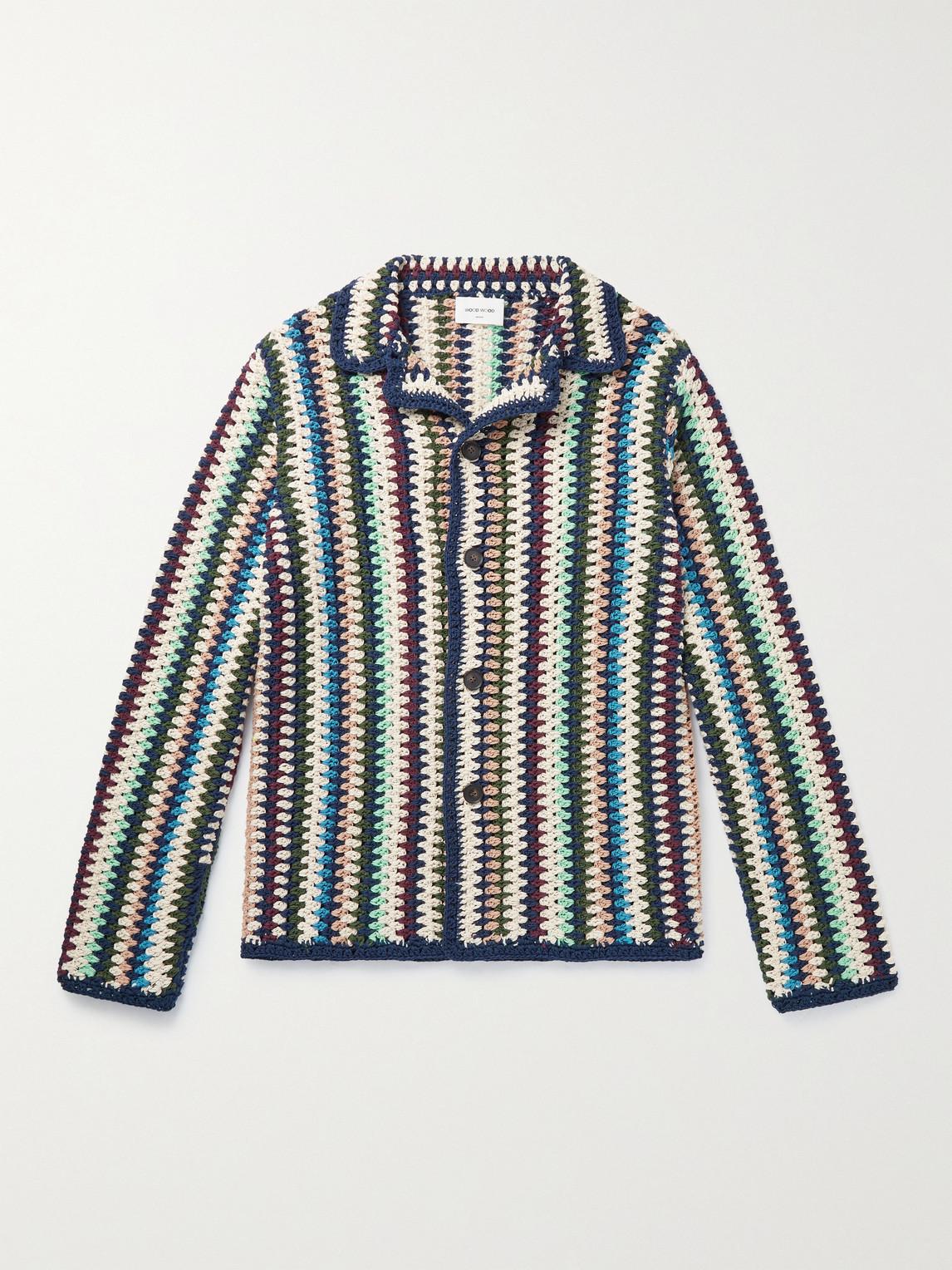 Wood Wood Calvin Crocheted Cotton Cardigan In Multi