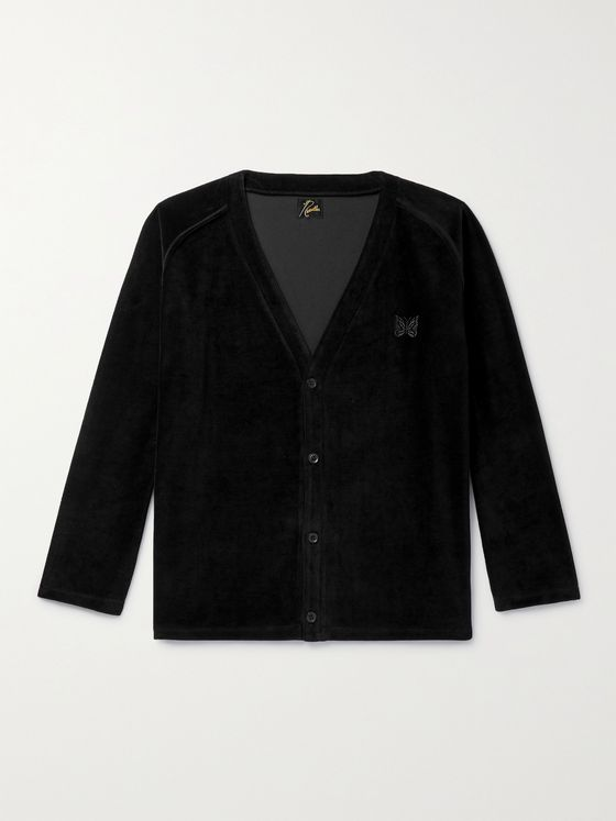 NEEDLES Logo-Embroidered Cotton-Blend Velour Cardigan