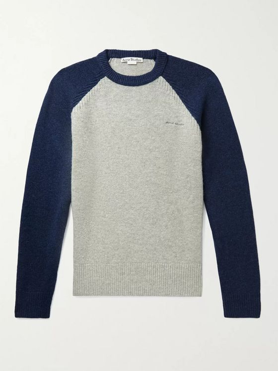 ACNE STUDIOS Knox Logo-Embroidered Two-Tone Wool Sweater