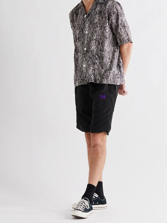 Needles Logo-Embroidered Shell Drawstring Shorts