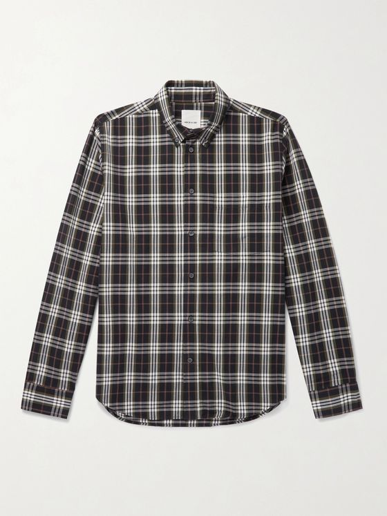 Wood Wood Andrew Button-Down Collar Checked Organic Cotton-Flannel Shirt