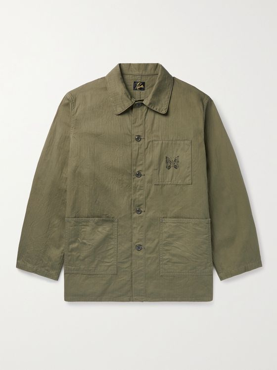 Needles Logo-Print Herringbone Cotton Chore Jacket