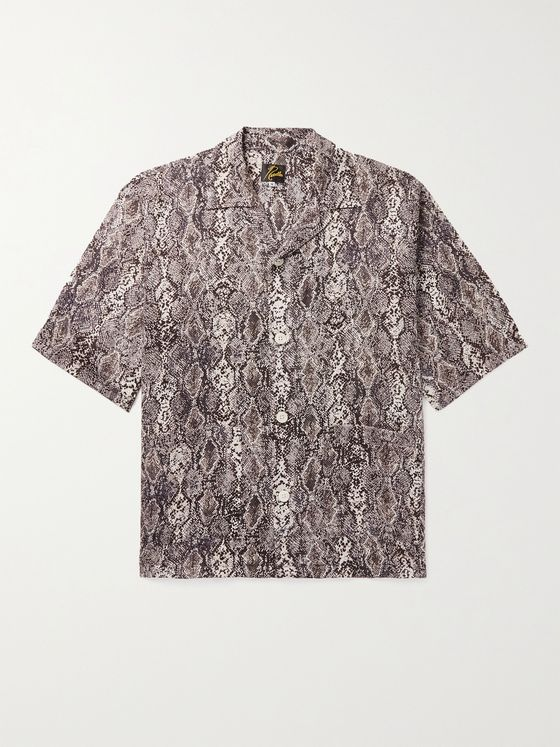 Needles Camp-Collar Snake-Print Cotton Shirt