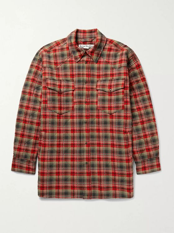 ACNE STUDIOS Oxton Oversized Quilted Checked Woven Overshirt