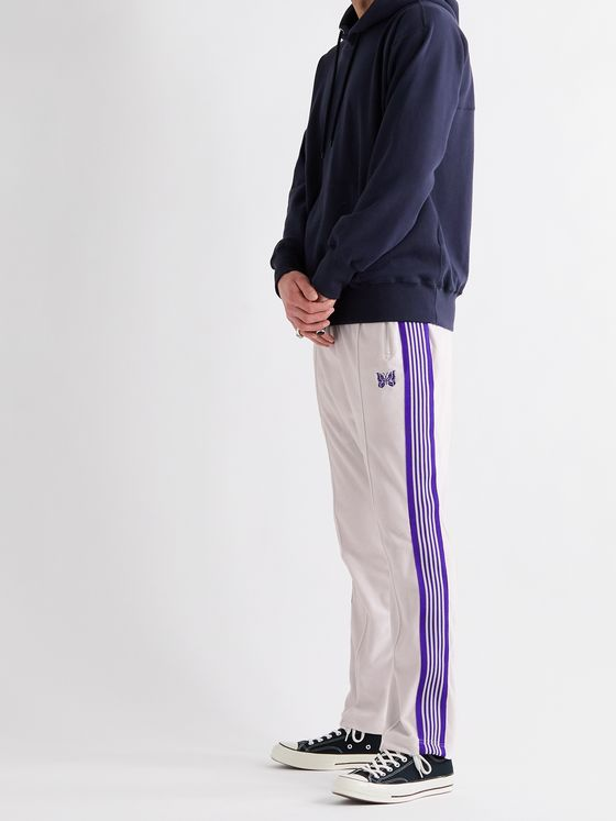 Needles Logo-Embroidered Webbing-Trimmed Cotton-Blend Velour Sweatpants