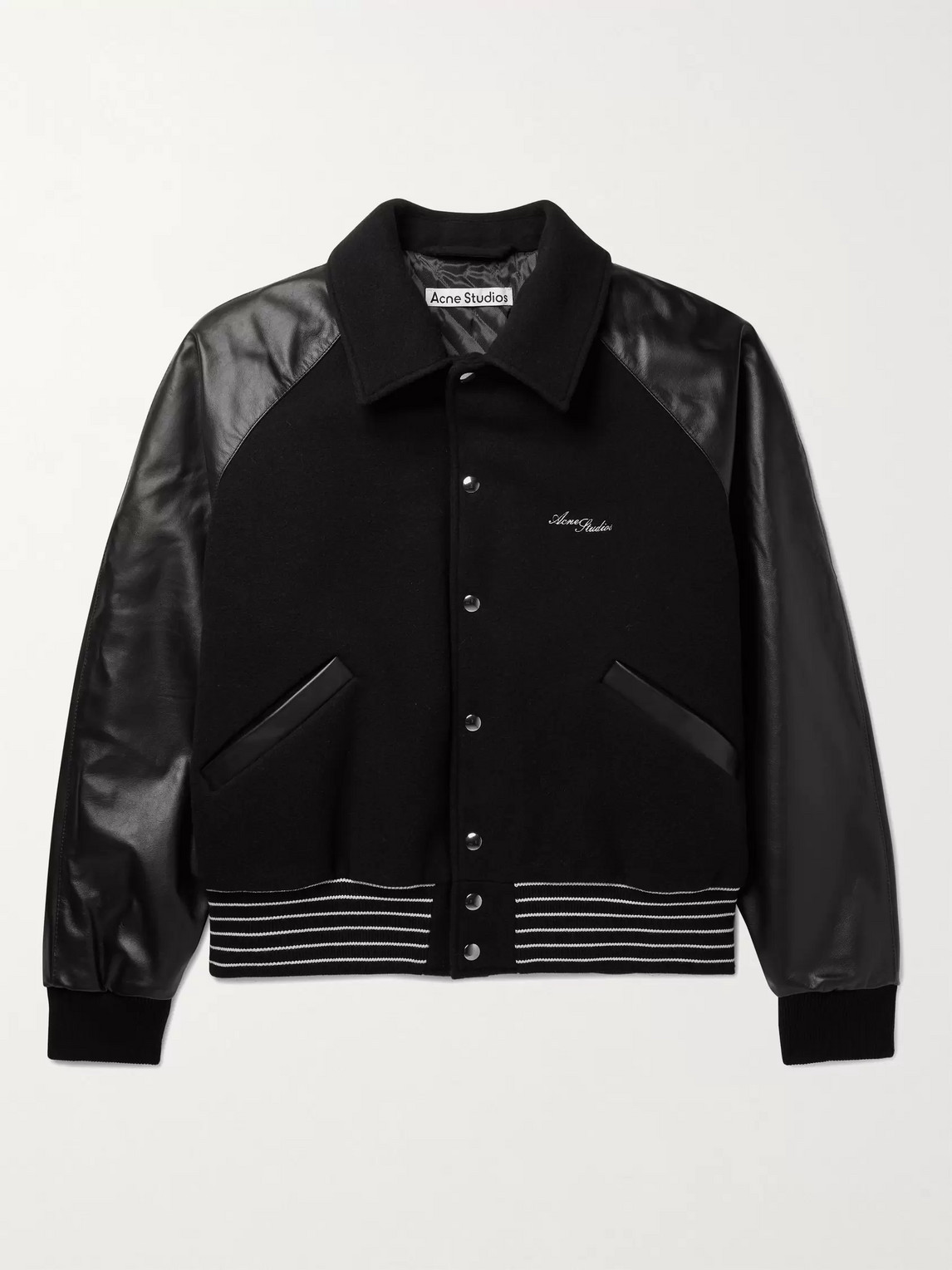 Acne Studios Omber Cropped Padded Wool-blend And Leather Bomber Jacket In Black