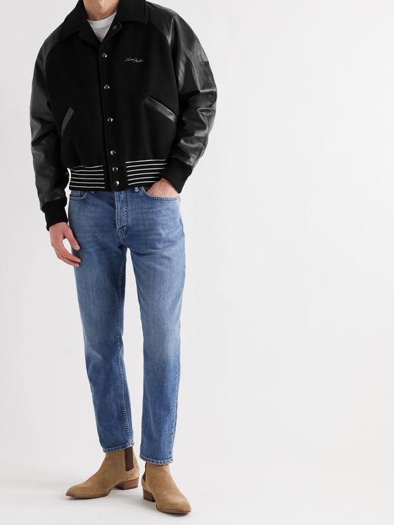 ACNE STUDIOS Omber Cropped Padded Wool-Blend and Leather Bomber Jacket