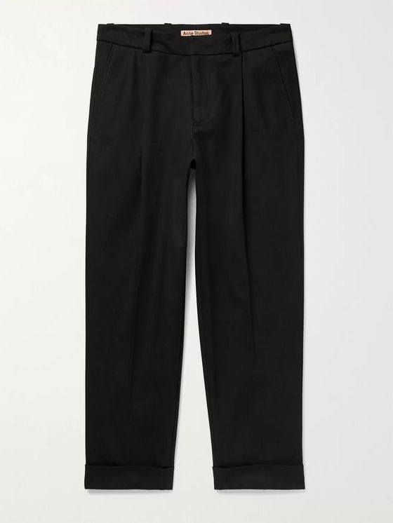 ACNE STUDIOS Pierre Tapered Cropped Pleated Cotton-Blend Trousers