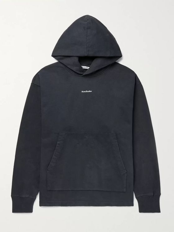 ACNE STUDIOS Franklin Oversized Logo-Print Fleece-Back Cotton-Jersey Hoodie