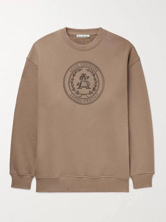ACNE STUDIOS Forban Oversized Logo-Embroidered Loopback Cotton-Jersey Sweatshirt