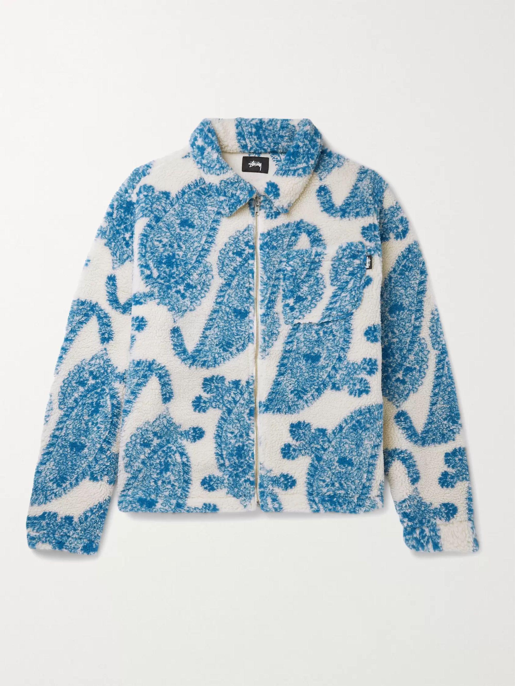 스투시 Stussy Printed Fleece Jacket,Ecru