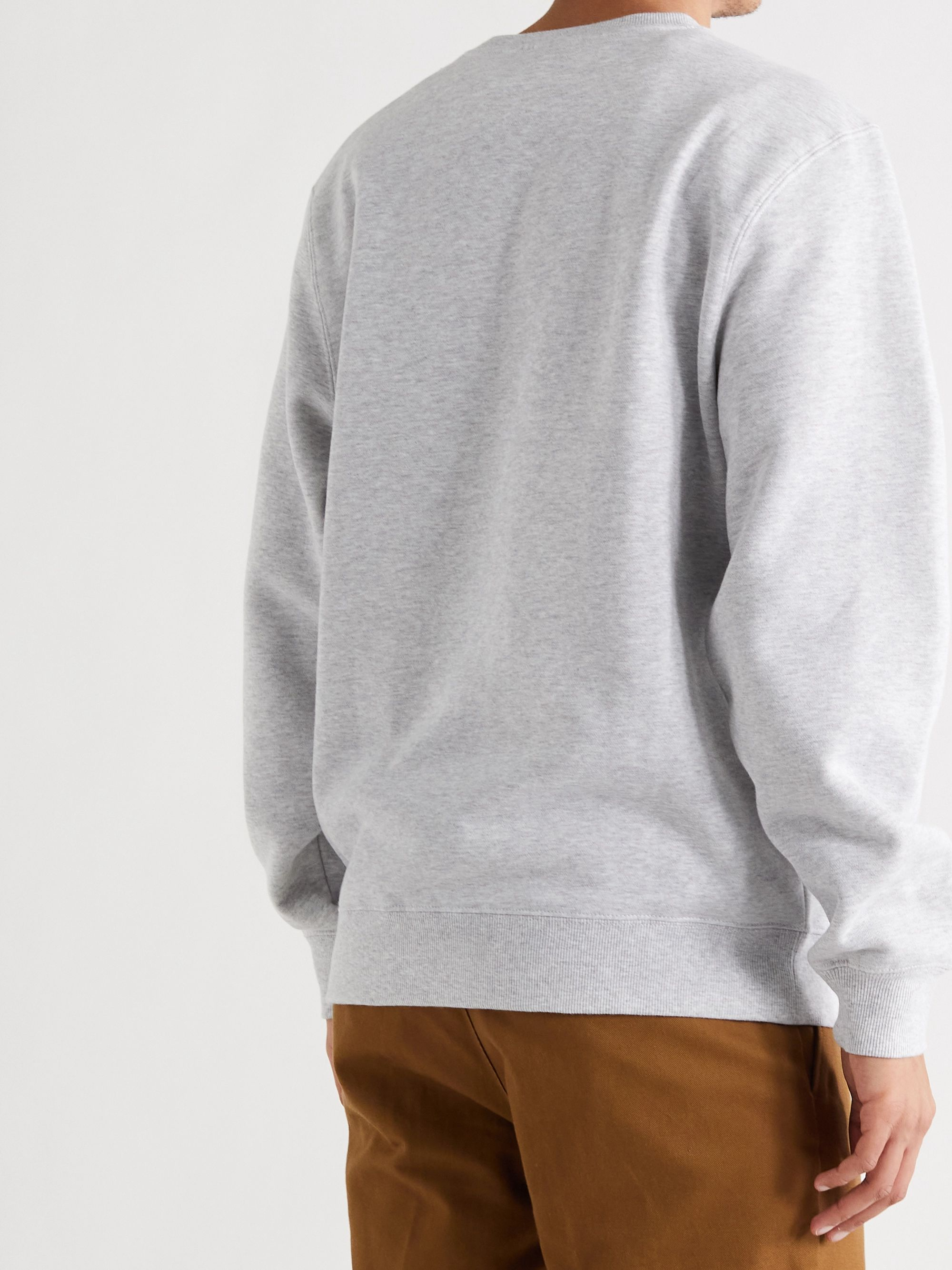 STÜSSY Logo-Print Mélange Fleece-Back Cotton-Blend Jersey Sweatshirt