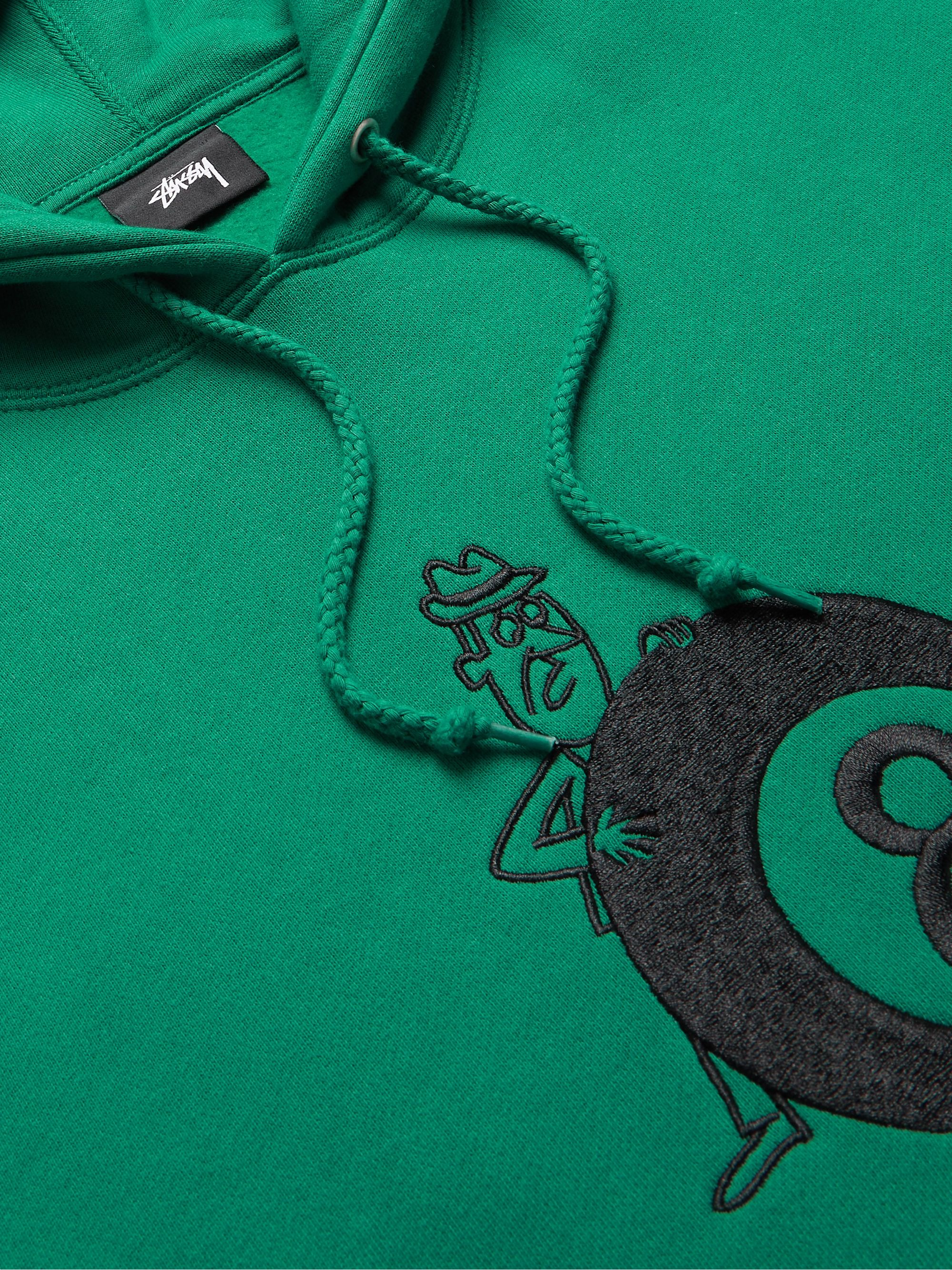 STÜSSY Embroidered Fleece-Back Cotton-Blend Jersey Hoodie