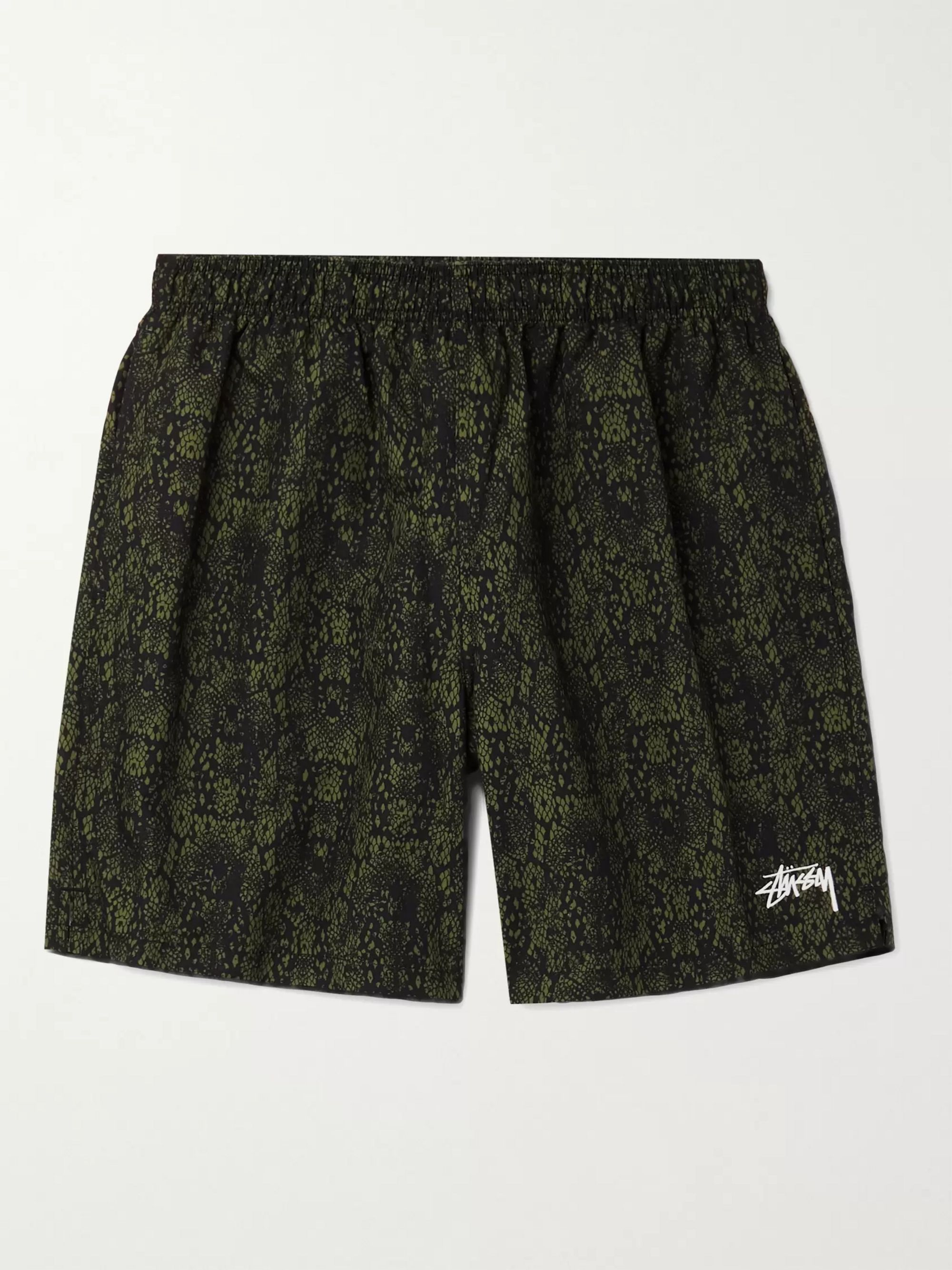 STÜSSY Logo-Embroidered Snake-Print Swim Shorts