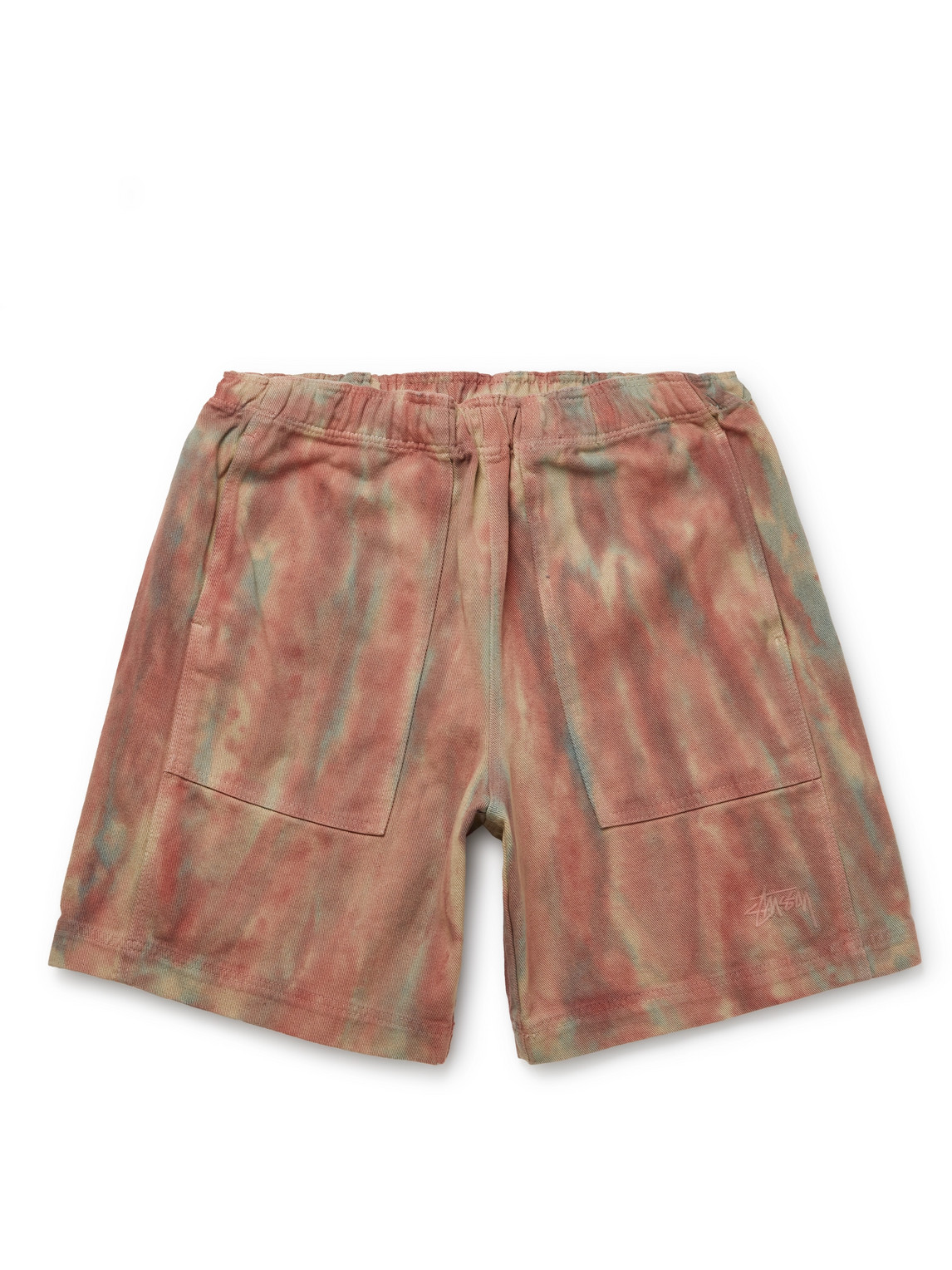 Stussy Cottons LOGO-EMBROIDERED TIE-DYE COTTON-TWILL SHORTS