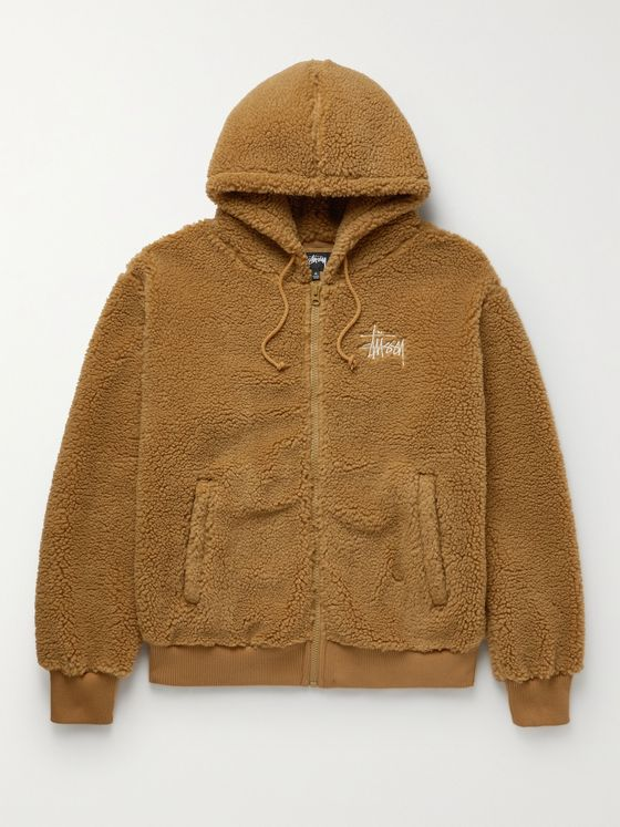 STÜSSY Logo-Embroidered Fleece Zip-Up Hoodie