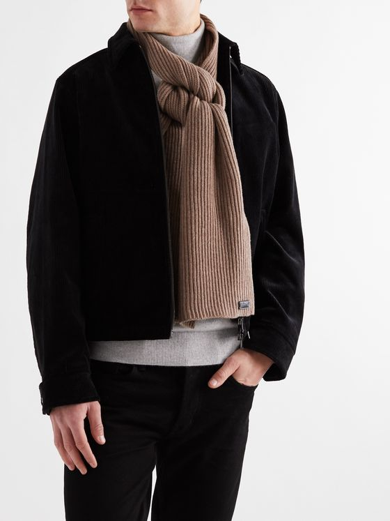 BRIONI Cable-Knit Wool and Cashmere-Blend Scarf