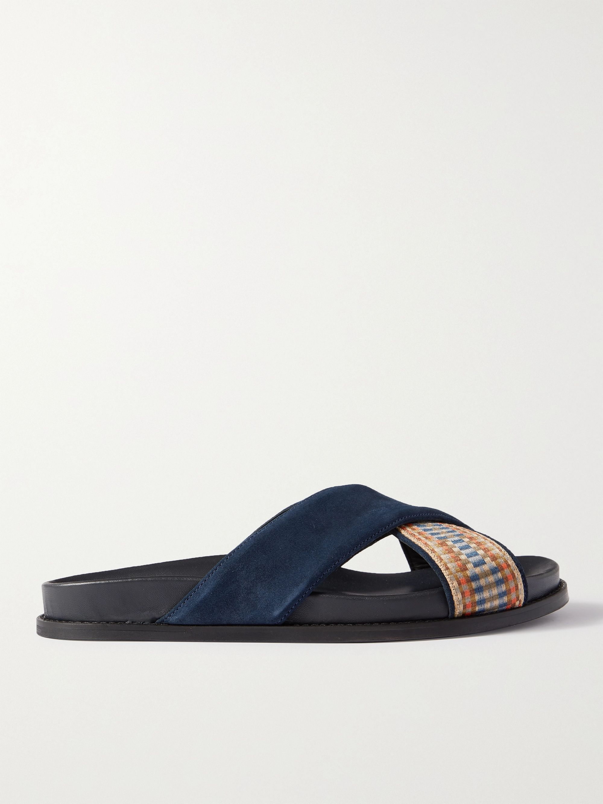 MR P. David Suede and Webbing Sandals,Blue