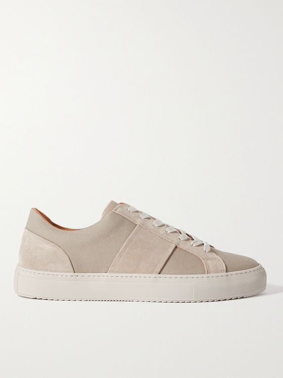MR P. Larry Suede-Trimmed Canvas Sneakers