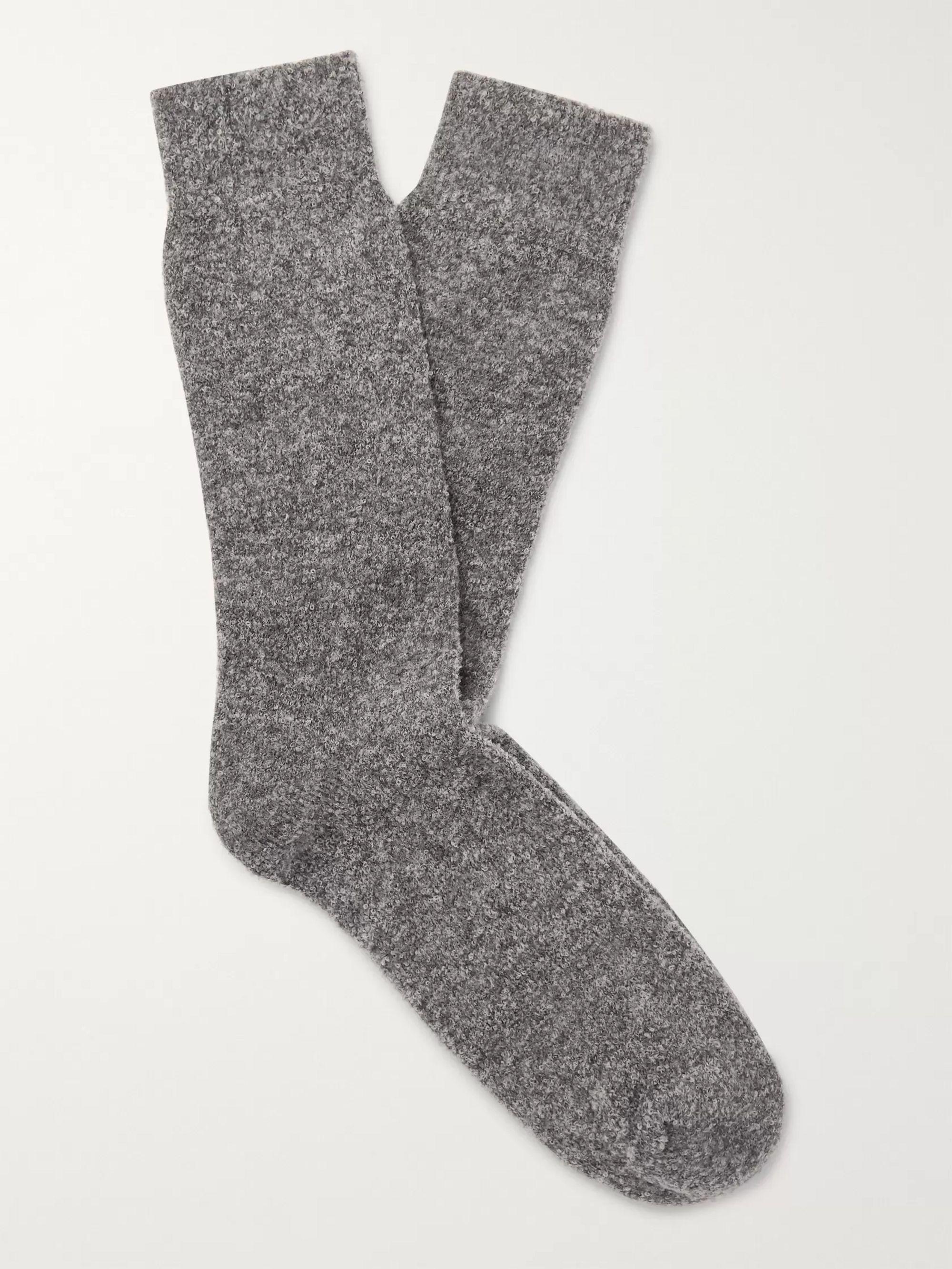 Gray Wally Mélange Merino Wool-blend Terry Socks | Howlin'