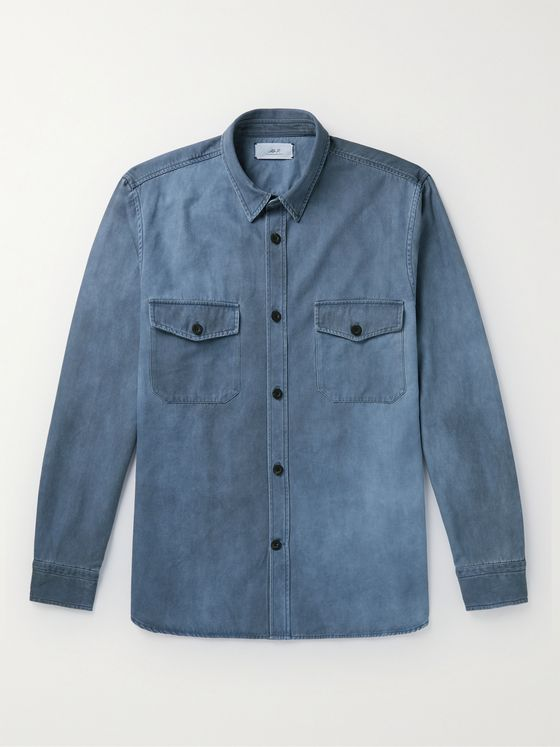 MR P. Spray-Dyed Cotton and Lyocell-Blend Twill Overshirt