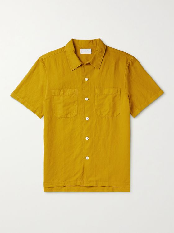 MR P. Garment-Dyed Cotton and Linen-Blend Shirt