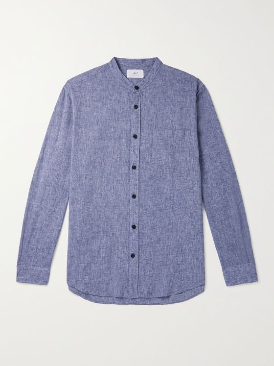 MR P. Grandad-Collar Mélange Linen and Cotton-Blend Shirt