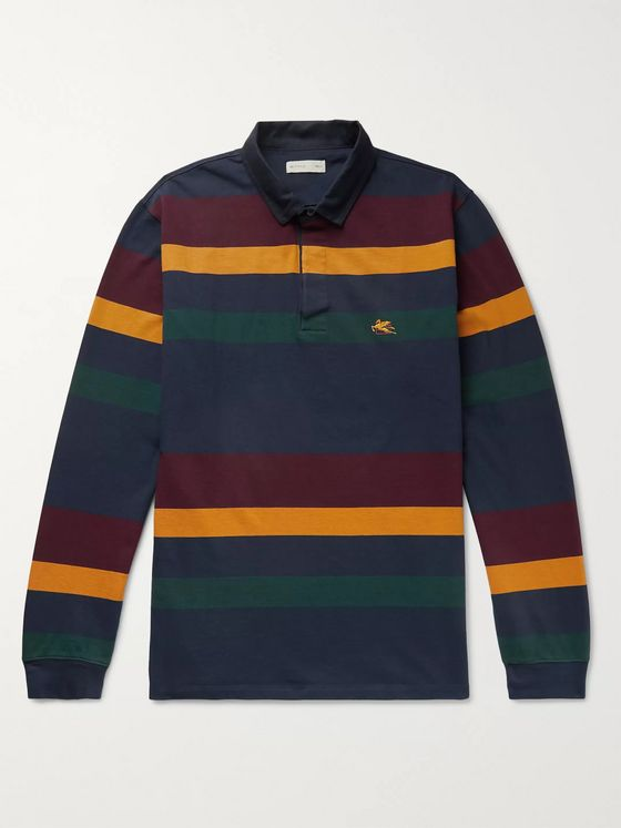 Etro Logo-Embroidered Striped Cotton-Jersey Polo Shirt