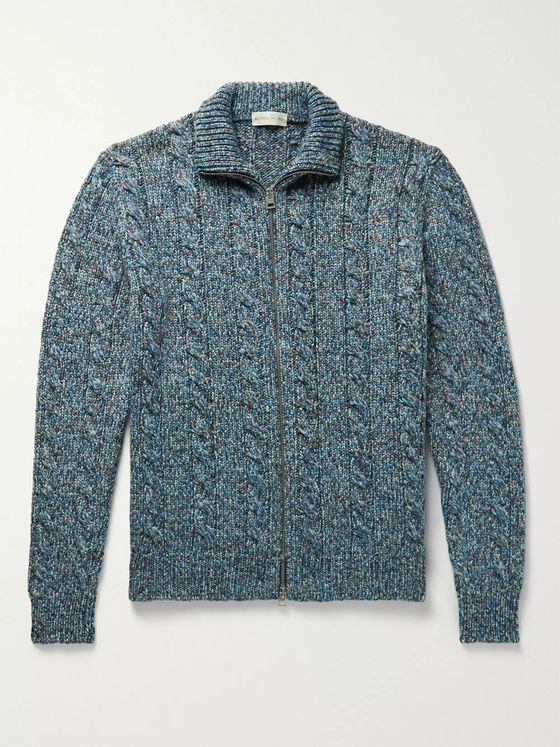 Etro Slim-Fit Cable-Knit Wool-Blend Zip-Up Cardigan