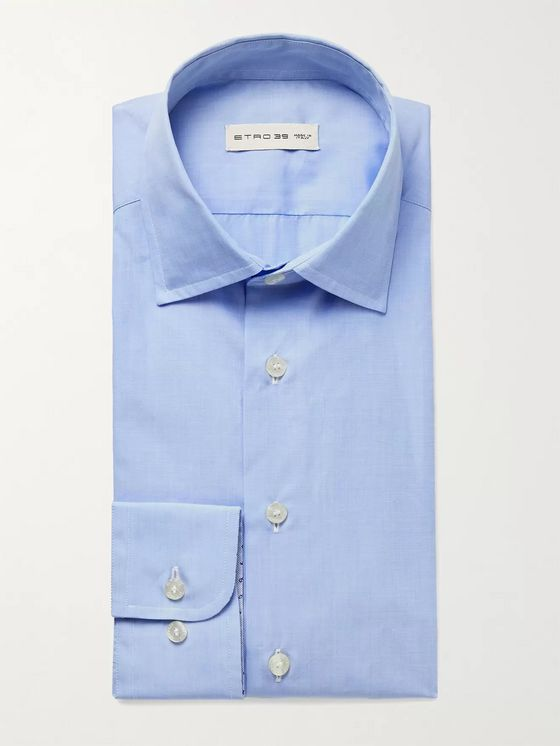 Etro Cutaway-Collar Cotton-Poplin Shirt