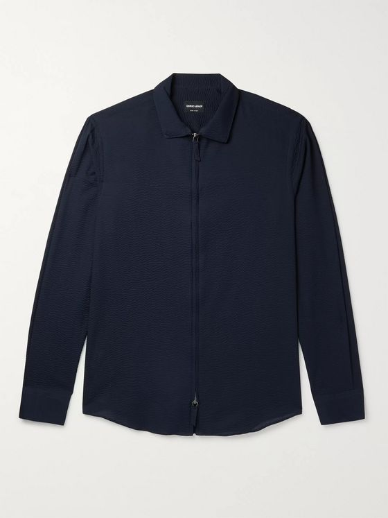Giorgio Armani Camicia Slim-Fit Cotton-Seersucker Zip-Up Overshirt
