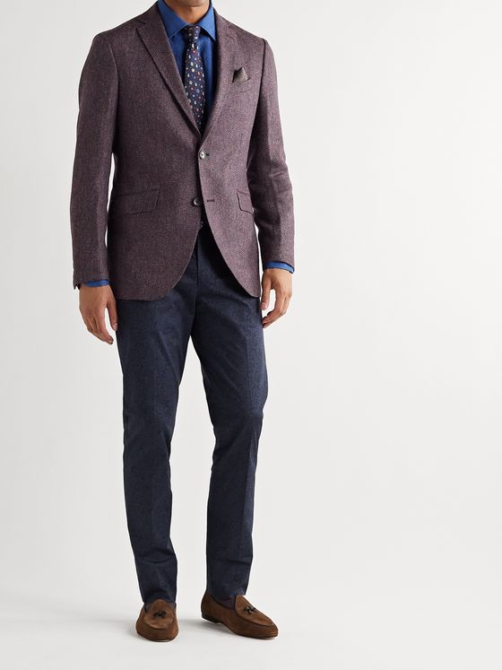Etro Unstructured Herringbone Wool Blazer