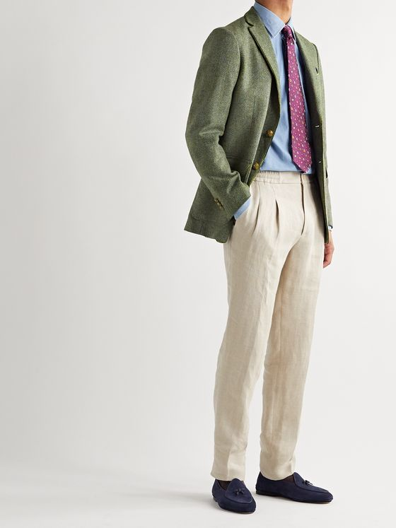 Etro Unstructured Velvet-Trimmed Herringbone Wool Blazer