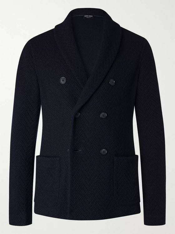 Giorgio Armani Double-Breasted Herringbone Virgin Wool and Cashmere-Blend Blazer