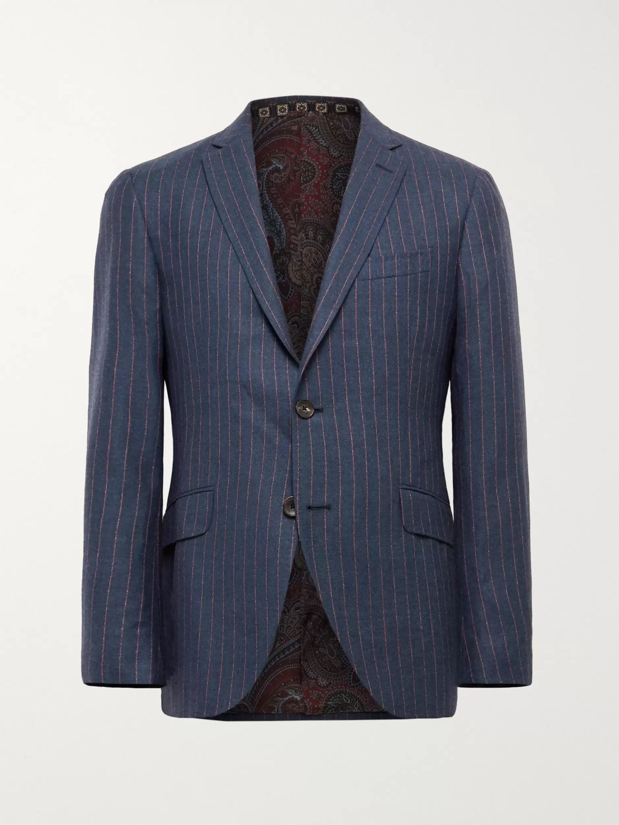 Etro Slim-Fit Unstructured Striped Wool, Cashmere, Silk and Cotton-Blend Suit Jacket