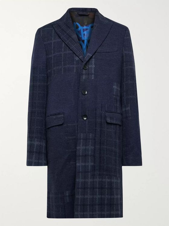 ETRO Slim-Fit Patchwork Wool Overcoat