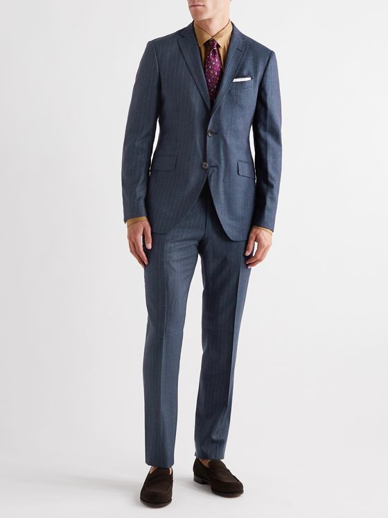 Etro Striped Wool, Cashmere, Silk and Cotton-Blend Suit Trousers