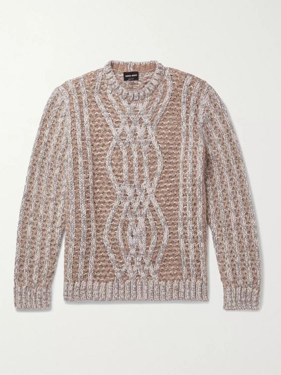 Giorgio Armani Cable-Knit Cashmere, Mohair and Silk-Blend Sweater