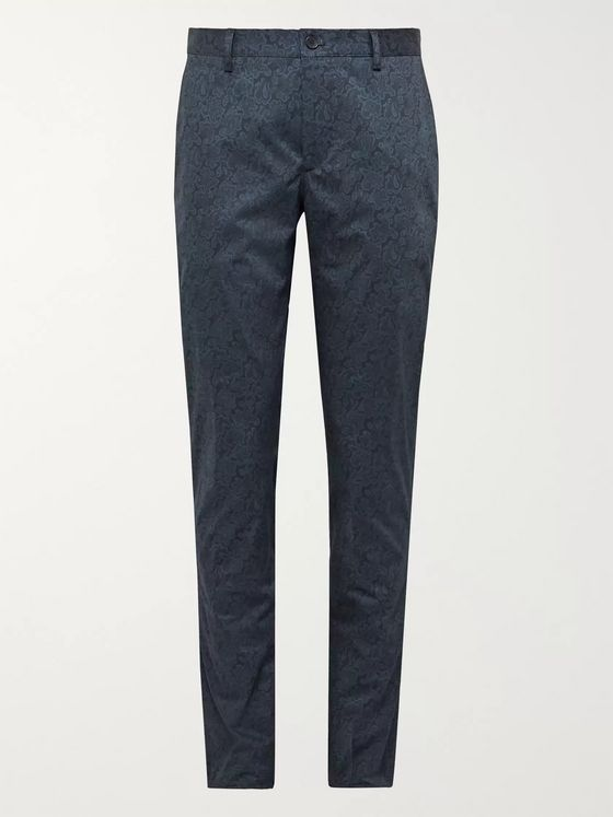 Etro Slim-Fit Paisley-Print Cotton-Blend Trousers