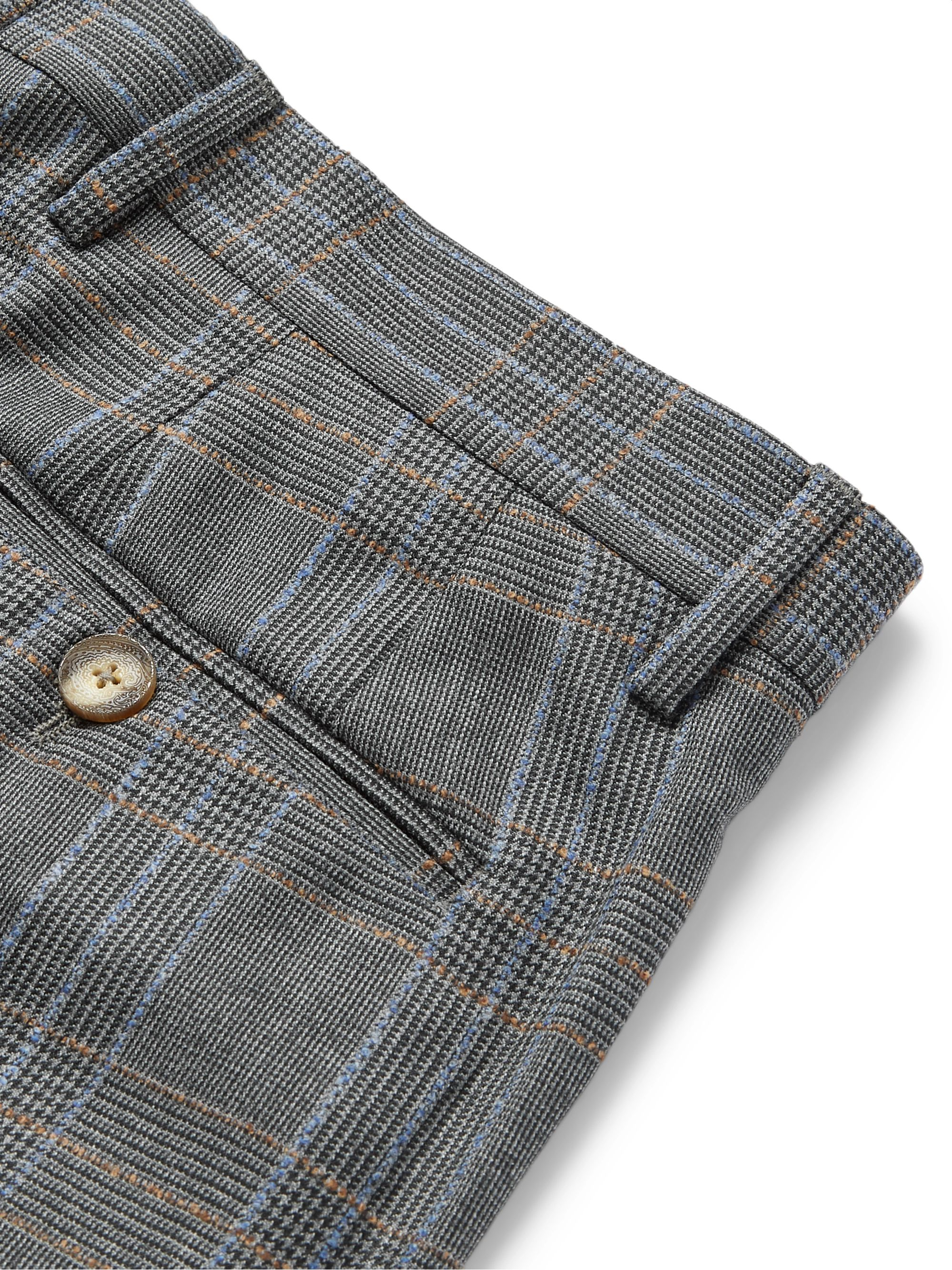 Etro Prince of Wales Checked Wool Suit Trousers