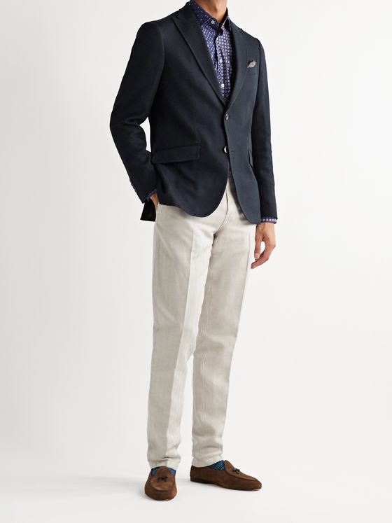 Etro Slim-Fit Unstructured Cotton-Piqué Blazer
