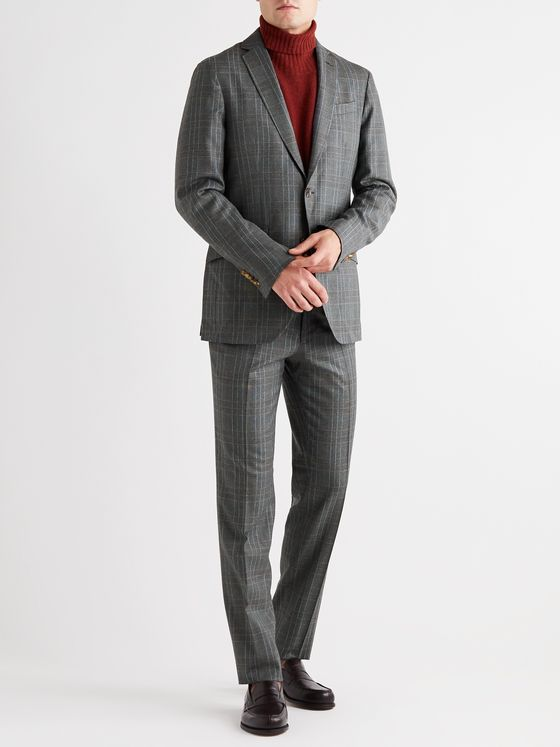 Etro Prince of Wales Checked Wool Suit Jacket