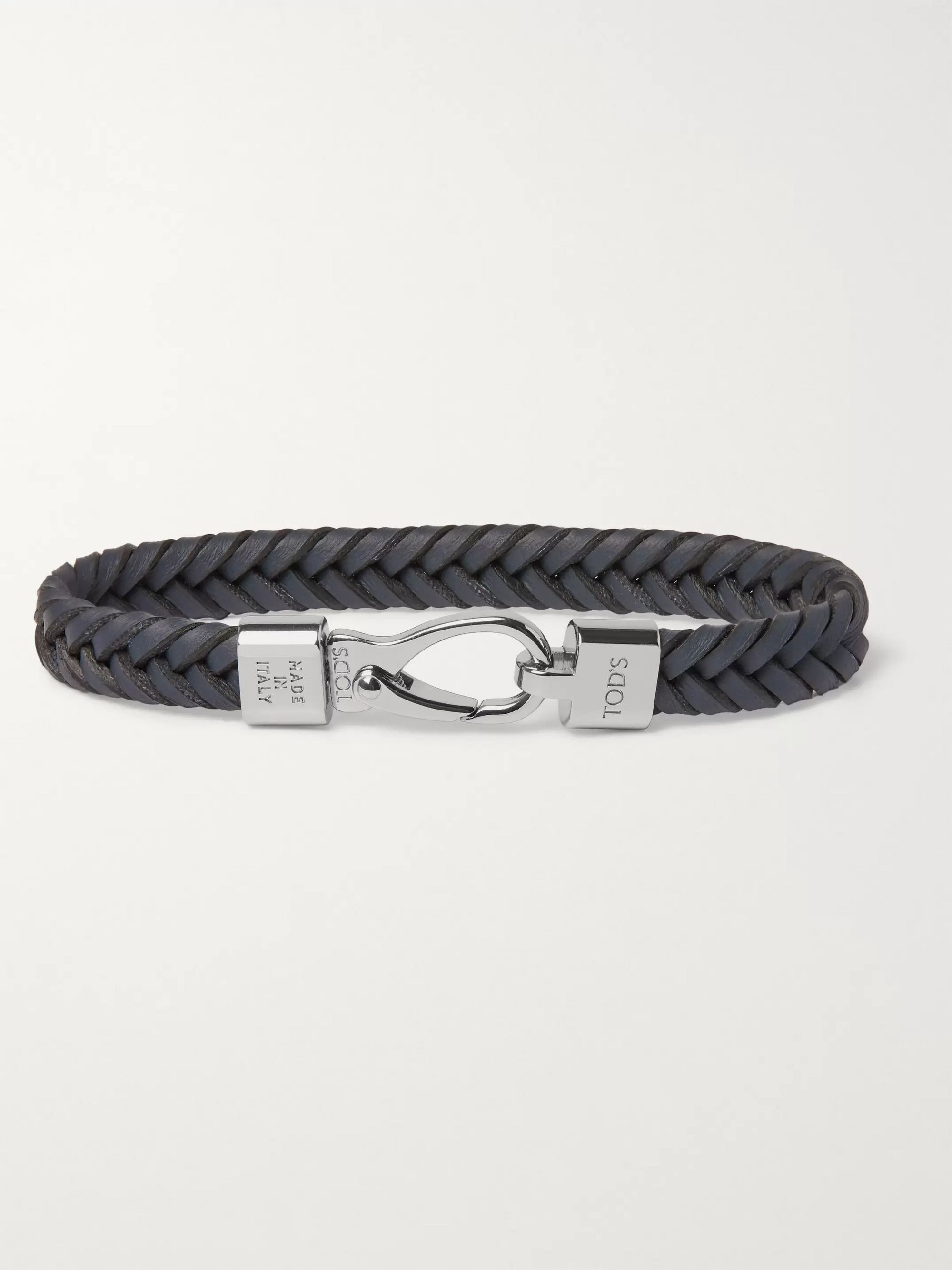 Tod's Woven Leather and Silver-Tone Bracelet