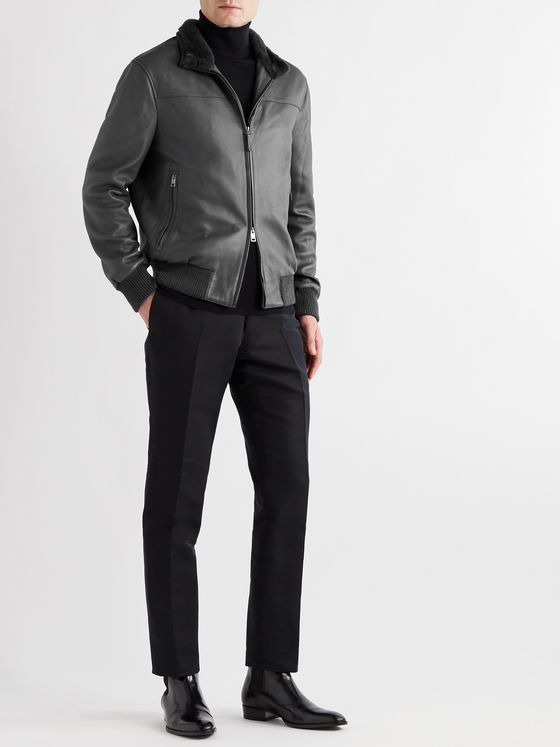 BRIONI Shearling-Trimmed Full-Grain Leather Bomber Jacket